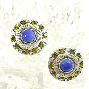 Chico's Antique Silver Tone Earrings Round Peridot